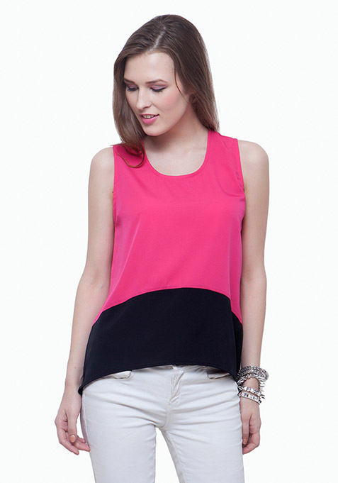 Colorblocked Tank Top - Pink