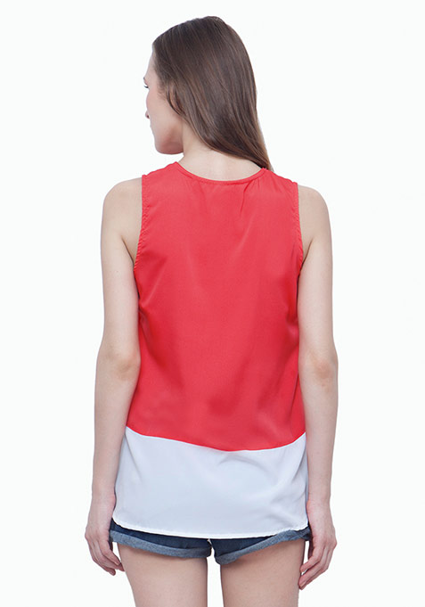 Colorblocked Tank Top - Coral