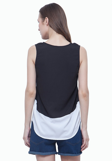 Colorblocked Tank Top - Black