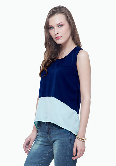 Colorblocked tank top - Navy