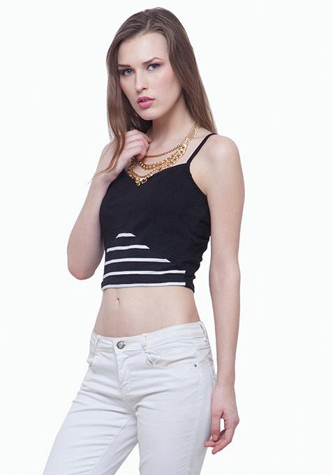 Colorblock Cami Crop Top - Stripes