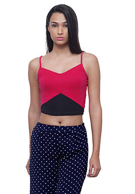 Colorblock Cami Crop Top - Pink