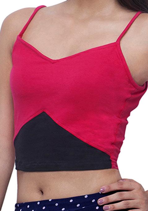 Colorblock Cami Crop Top - Pink