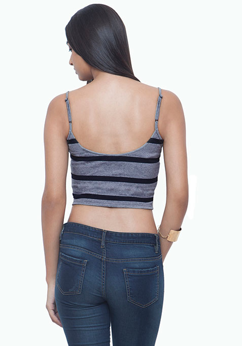 Colorblock Cami Crop Top - Grey Stripes
