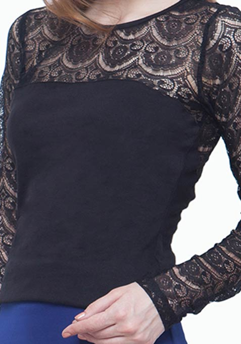 On Point Lace Top - Black