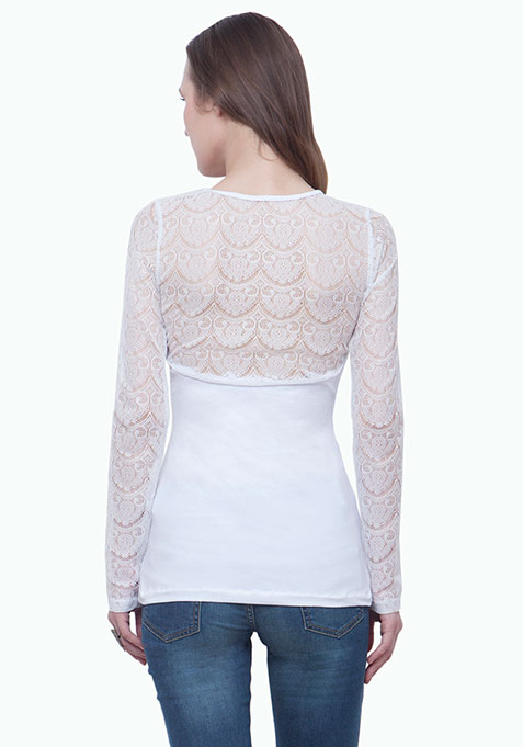 On Point Lace Top - White