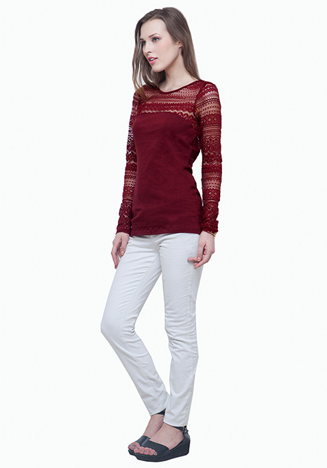 On Point Lace Top - Oxblood