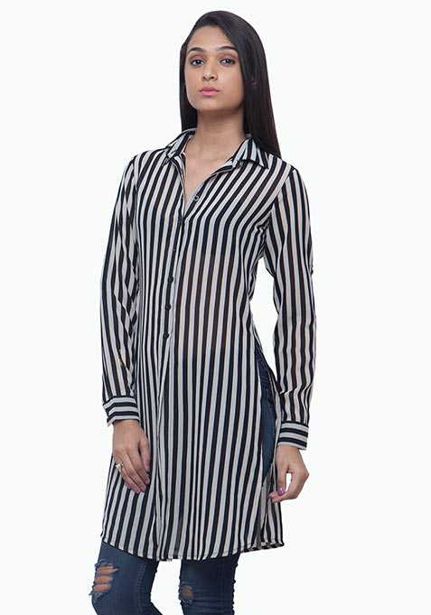 Striped Maxi Shirt - Black