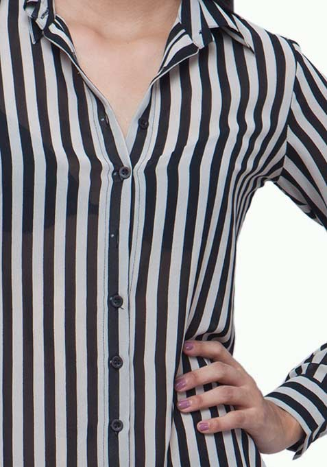 Striped Maxi Shirt - Black