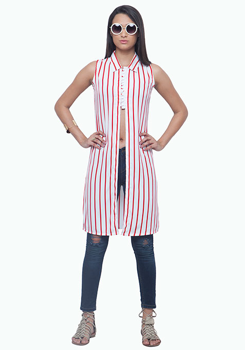 Cropped Maxi Tunic - Red Stripes