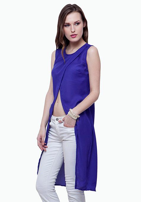 Wrap Maxi Blouse - Blue