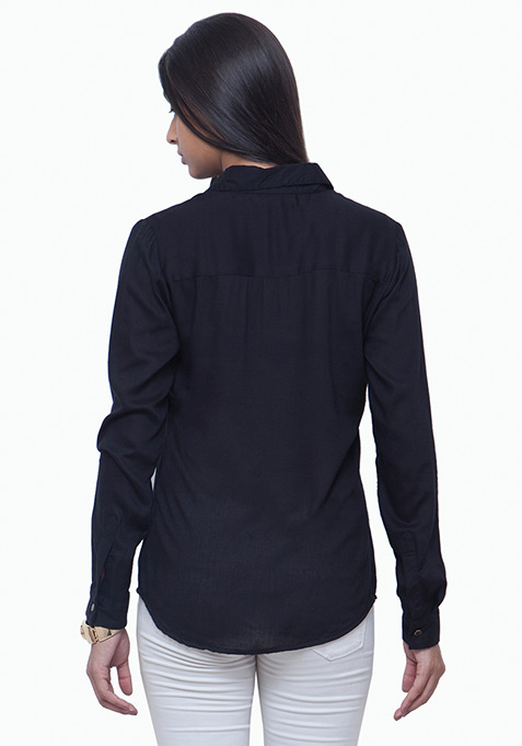Tough Ride Boyfriend Shirt - Black