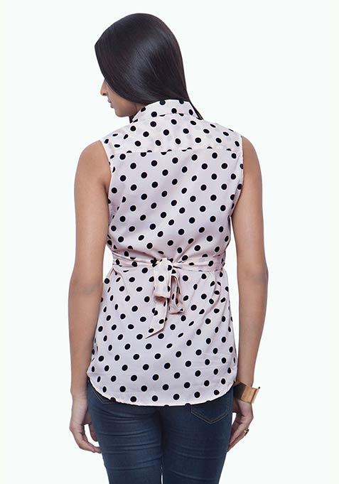 Tie Back Shirt - Polka Dot