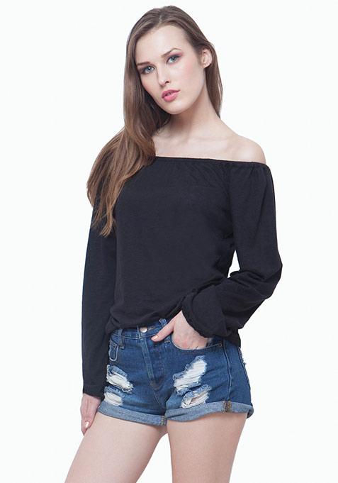 Bardot Peasant Top - Black