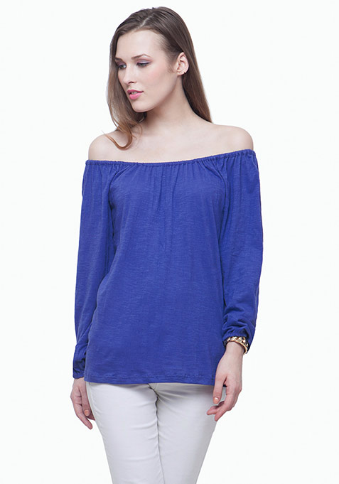 Bardot Peasant Top - Blue