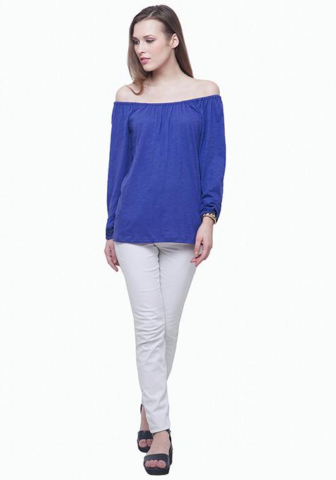 Bardot Peasant Top - Blue