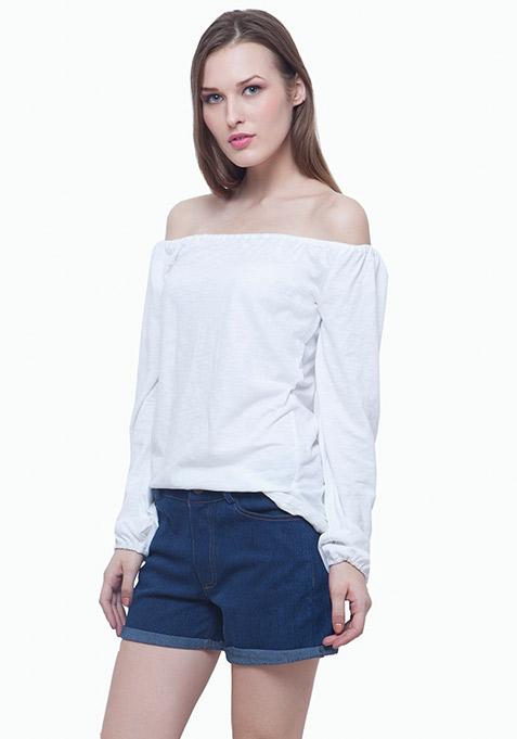 Bardot Peasant Top - White