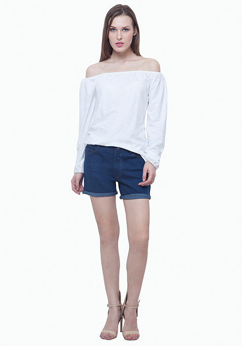 Bardot Peasant Top - White