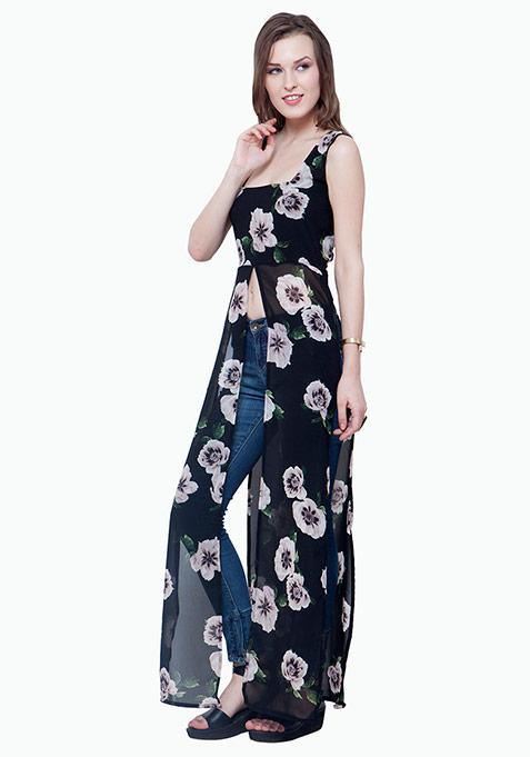 Longline Maxi Blouse - Black Floral