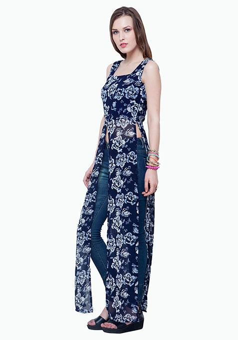 Longline Maxi Blouse - Blue Floral