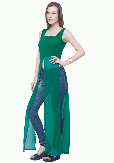 Longline Maxi Blouse - Green