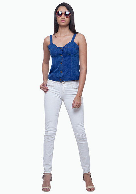 Denim Bustier - Medium Wash