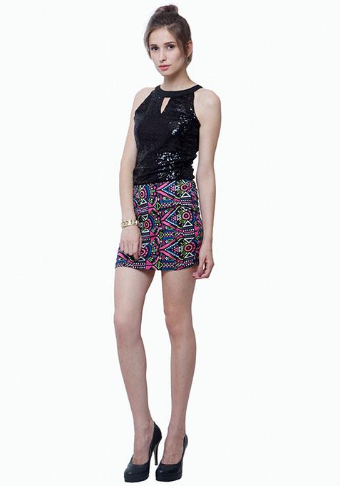 Sequin Sizzle Top - Black