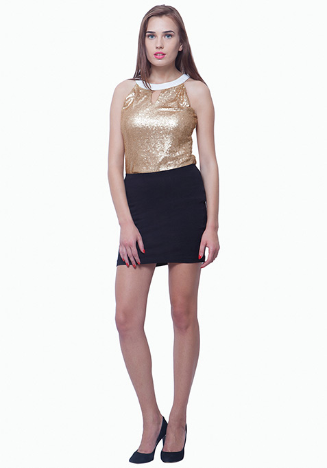 Sequin Sizzle Top - Gold