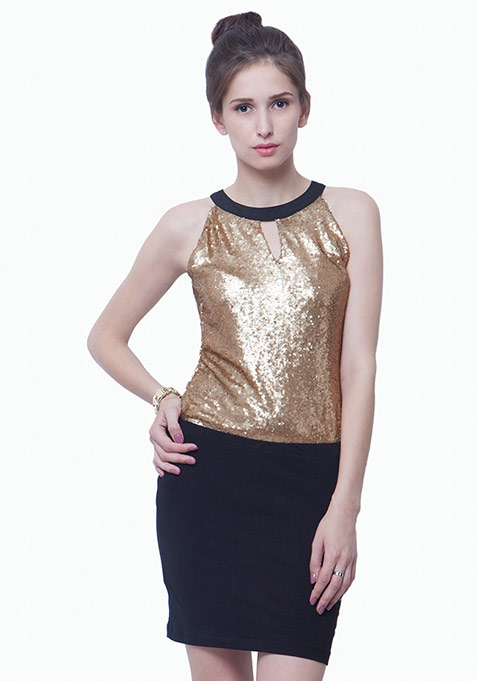 Sequin Sizzle Top - Copper