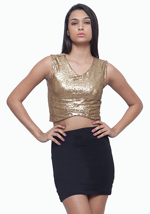 Crossways Sequin Crop Top - Copper