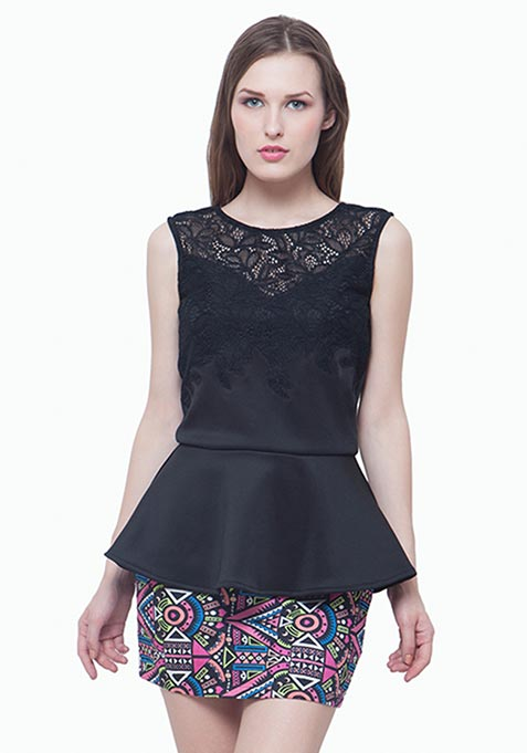 Crochet Chic Peplum Top - Black