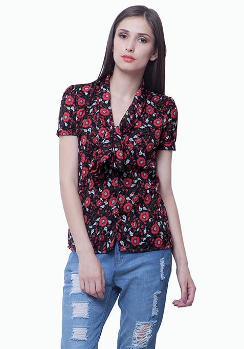 Floral Flair Pussybow Shirt