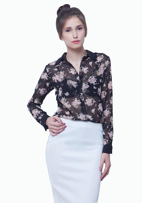 Floral Panelled Shirt - Black