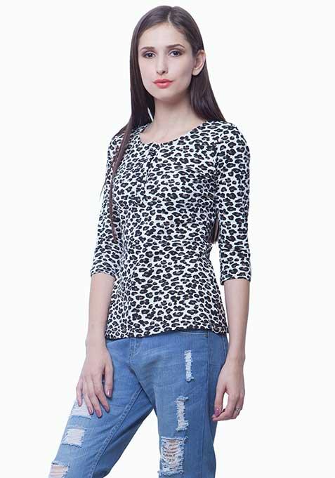 Leopard Henley Tee