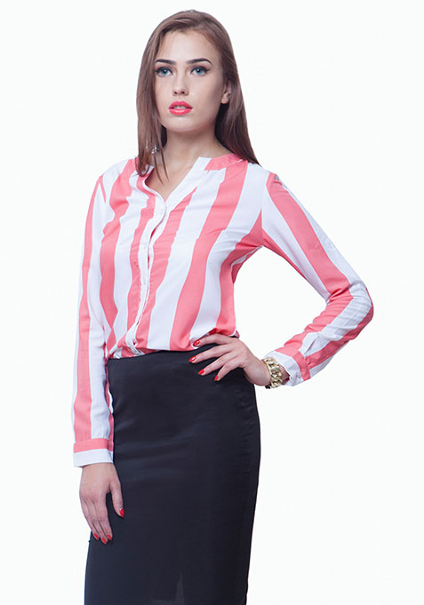 Striped Story Shirt - Coral