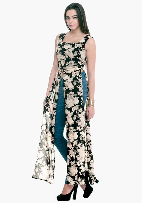 Longline Maxi Blouse - Fall Floral