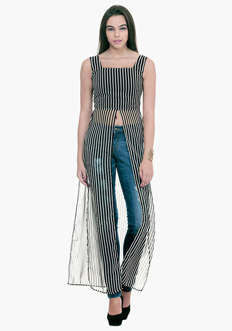Longline Maxi Blouse - Striped