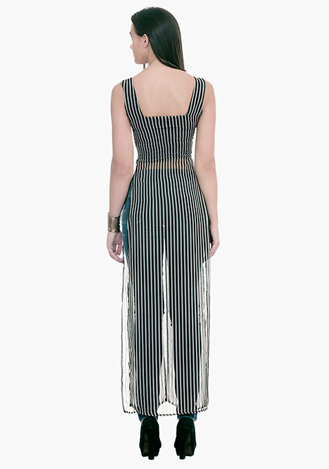 Longline Maxi Blouse - Striped