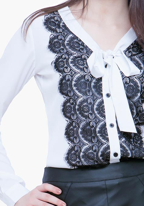 Sheer Lace Shirt - White