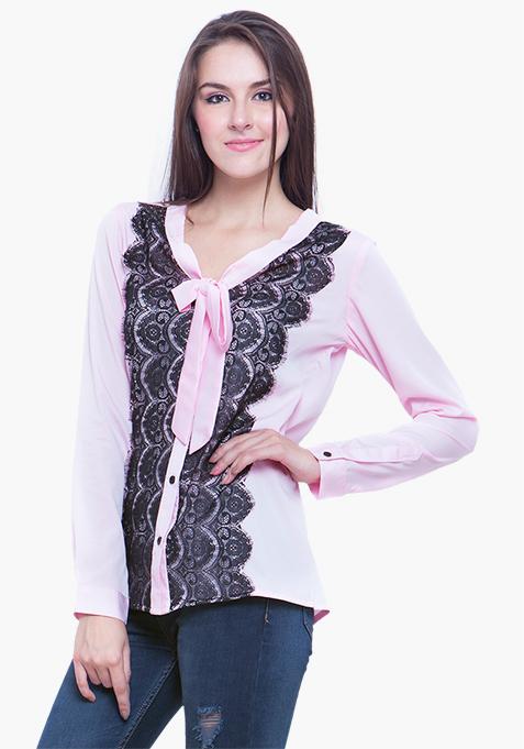 Sheer Lace Shirt - Blush