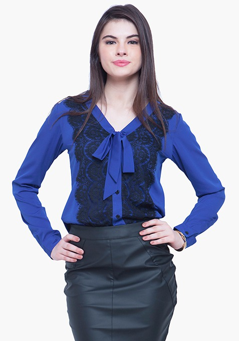 Sheer Lace Shirt - Blue