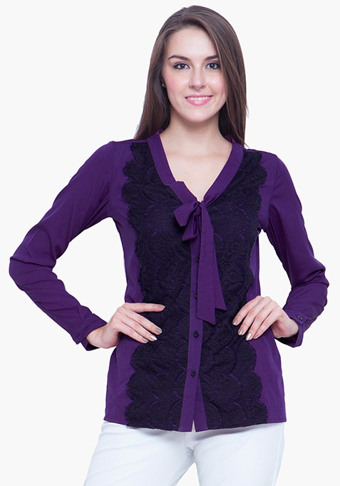 Sheer Lace Shirt - Purple
