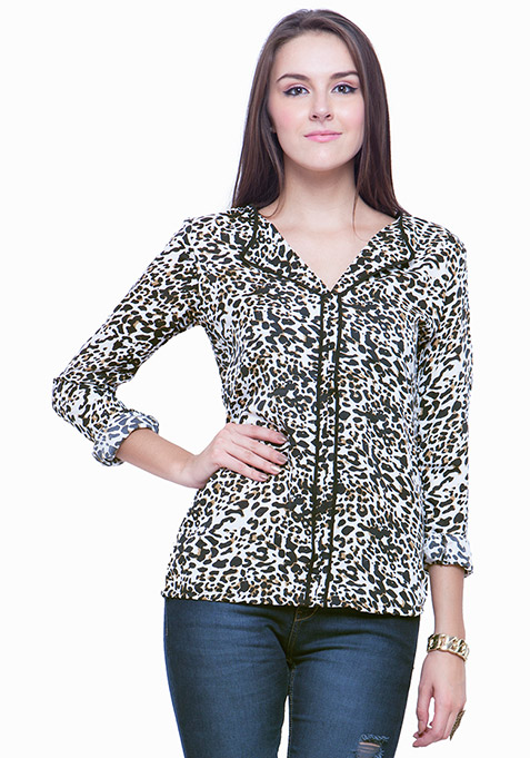 Piping Perfect Shirt - Leopard