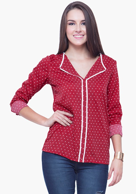 Piping Perfect Shirt - Red Polka