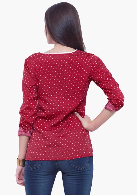 Piping Perfect Shirt - Red Polka