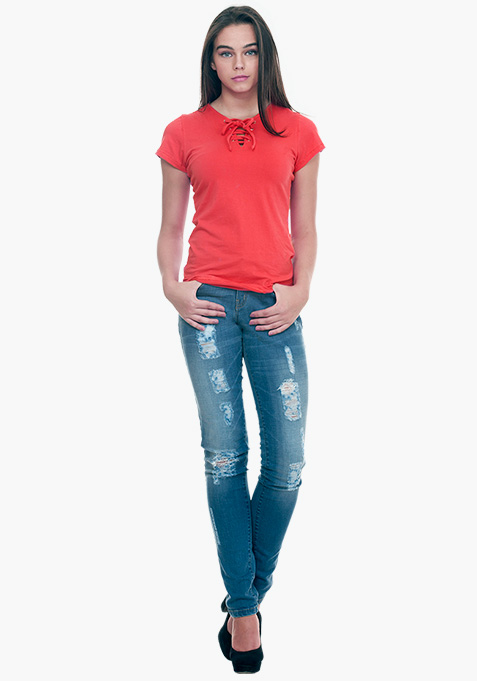 Tied Down Tee - Coral