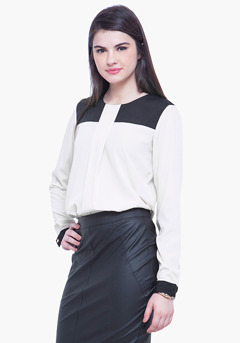 Contrast Panel Blouse - Monochrome
