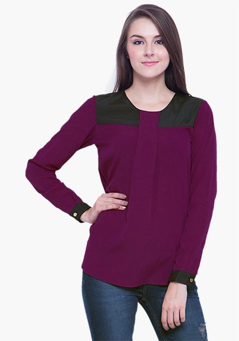 Contrast Panel Blouse – Purple
