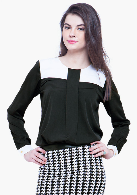 Contrast Panel Blouse – Black
