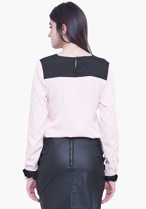 Contrast Panel Blouse - Blush